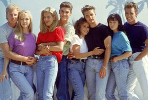 Group of young people in 90's fashion, highlighting Austyn style influences